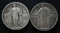 2 - STANDING LIBERTY QUARTERS 1917 TYPE 1, & 1924 PHILADELPHIA MINT CIRCULATED