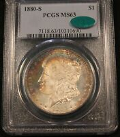 1880 S MORGAN SILVER DOLLAR MS63 PCGS CAC LOOKS PL  RAINBOW COLOR CRESCENT TONED