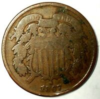 1867-P 2C COPPER TWO CENT PIECE 19WTL0226 ONLY 50 CENTS FOR SHIPPING