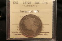 1872H CANADA SILVER 50 CENTS. INVERTED A/V ICCS G 6. BV $385