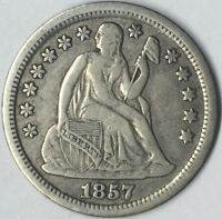 1857 10C SEATED LIBERTY DIME VF UNCERTIFIED