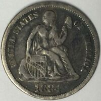 1884 10C SEATED LIBERTY DIME VF UNCERTIFIED