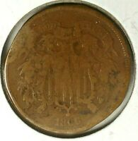 1866-P 2C COPPER TWO CENT PIECE 19OOH0406 ONLY 50 CENTS FOR SHIPPING