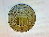 1866 TWO CENT PIECE LOT 1A