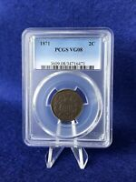 1871  TWO CENT PIECE 2C PCGS VG08  GOOD TOUGHER DATE COIN