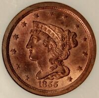 NGC MINT STATE 64 RB 1855 BRAIDED HAIR HALF CENT