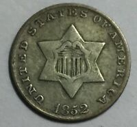 1853 THREE CENT SILVER EXTRA FINE  NOT CERTIFIED