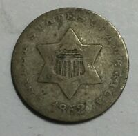 1852 THREE CENT SILVER NOT CERTIFIED