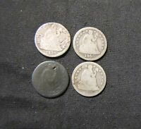 LOT OF 4 SEATED LIBERTY SILVER DIMES - 1845, 1854, 1857, 1889
