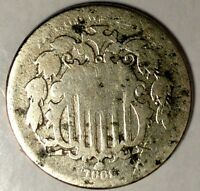 1869-P 5C SHIELD NICKEL, 18LWC1008 ONLY 50 CENTS FOR SHIPPING