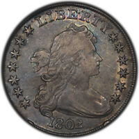1802/1 $1 PCGS EXTRA FINE 40 CAC APPROVED - DRAPED BUST DOLLAR - ATTRACTIVELY TONED