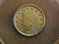 1901 LIBERTY HEAD NICKEL ANACS MINT STATE 64
