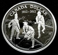 2012 CANADA 1 DOLLAR WAR OF 1812 100TH ANNIVERSARY PURE SILVER COLLECTOR COIN