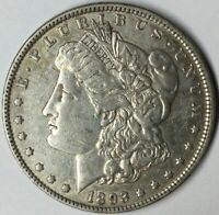1893 $1 MORGAN SILVER DOLLAR VAM 4 DOUBLE STAR AU UNCERTIFIED