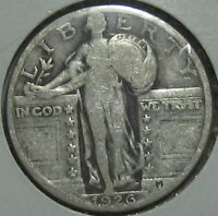 1926 STANDING LIBERTY SILVER QUARTER, FINE  FREE SHIPPPING