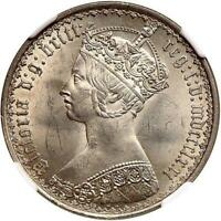 GREAT BRITAIN VICTORIA GOTHIC FLORIN SILVER 1871 NGC MS64