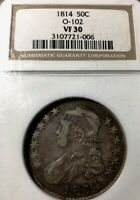 1814 O.102 CAPPED BUST HALF NGC VF30 PLEASING APPEAL