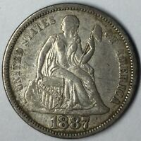 1887 10C SEATED LIBERTY DIME EXTRA FINE  UNCERTIFIED