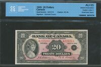 1935 $20 BANK OF CANADA CCCS AU 55 ALMOST UNCIRCULATED. BC 9B BV $9 250.