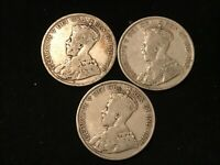T2: CANADA SILVER 50 CENTS 1917 1918 & 1919