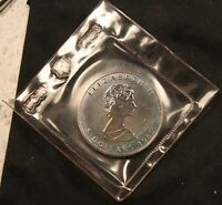 1989 CANADA 1 OZ .9999 SILVER MAPLE LEAF   MINT SEALED. COLORFULLY TONED COIN