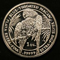 2011 BLUE THROATED MACAW 1 OZ .99999 EXTRA FINE SILVER. ROYAL SILVER COMPANY