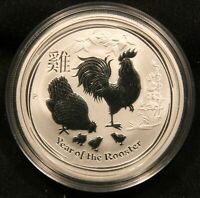 2017 AUSTRALIA PERTH MINT   LUNAR YEAR OF THE ROOSTER 1/2 OZ .9999 FINE SILVER