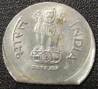 INDIA 1 RUPEE STEEL ISSUE ERROR COIN   CLIP ON OFF CENTER