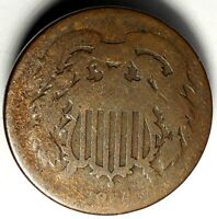 1864-P 2C COPPER TWO CENT PIECE 17OCW1312  ONLY 50 CENTS FOR SHIPPING