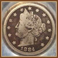 1884 LIBERTY V NICKEL, BETTER DATE FULL LIBERTY