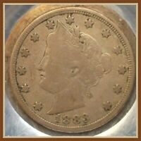 1883 N/C LIBERTY V NICKEL, FIRST YEAR COIN VG-F