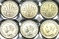 1952 AUSTRALIA 3 X UNCIRCULATED SILVER THREEPENCE   NICELY T