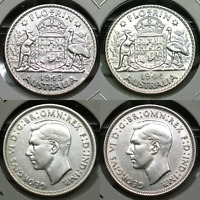 1943 S AND 1944 S AUSTRALIA 2 X STERLING SILVER FLORINS