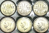 1948 AUSTRALIA 3 X UNCIRCULATED SILVER THREEPENCE   NICELY T