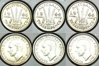 1944 S AUSTRALIA 3 X UNCIRCULATED STERLING SILVER THREEPENCE