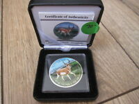 2013 FULLY COLORIZED ANTELOPE 1 OZ SILVER MAPLE LEAF. DISPLAY CASE & BOX. NO TAX