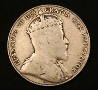 1910 CANADA SILVER 50 CENTS KING EDWARD VII VINTAGE COIN