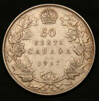 1917 CANADA SILVER 50 CENTS  KING GEORGE V COIN