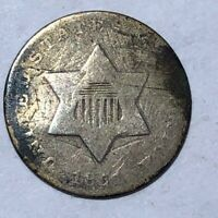 1851 SILVER THREE CENT PIECE. GOOD, WITH PROBLEMS. 3C  LOT1NN