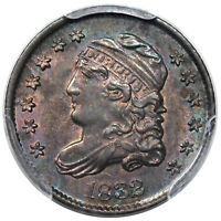 1832 BUST HALF DIME LM-7 PCGS MINT STATE 64 GREAT COLOR