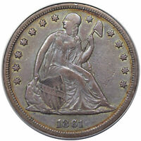 1861 SEATED DOLLAR PCGS VF-30 OGH GREAT EYE APPEAL