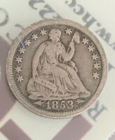 1853 WITH ARROWS 90 SILVER LIBERTY SEATED HALF DIME VG-F AS PURCHASED