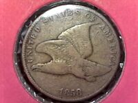 SMALL LETTERS 1858 FLYING EAGLE CENT VG US COIN