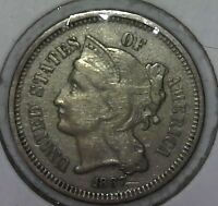 1867 3 CENT NICKEL  3C  FULL LIBERTY US COIN