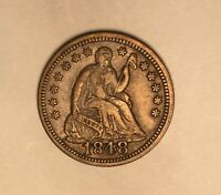 1848 LARGE DATE SEATED LIBERTY HALF DIME CHOICE EXTRA FINE