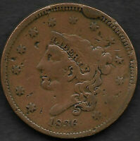 1836 C LARGE CENT, N-6, R 2 LARGE CUD & REVERSE WITH MISSING  RETAINED LAMINTION
