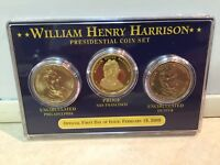 WILLIAM H HARRISON 2009 PRESIDENTIAL 3-COIN SET-1PROOF SF, 2UNCIRC PHILLY&DENVER