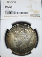 1923-S $1 SILVER PEACE DOLLAR NGC MINT STATE 64  BEAUTY