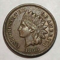 1868 EXTRA FINE  INDIAN HEAD US CENT. LOT2