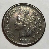 1869 EXTRA FINE  INDIAN HEAD US CENT. LOT1